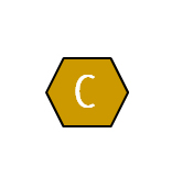 The letter C in a mustard colored hexagon shape