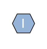 The letter I in a powder blue hexagon shape