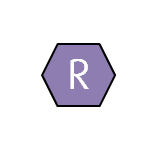 The letter R in a purple hexagon shape